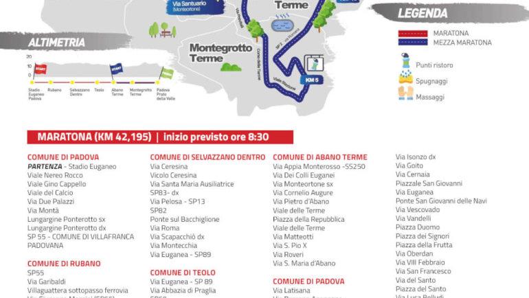 Padova Marathon, strade chiuse e viabilità modificata
