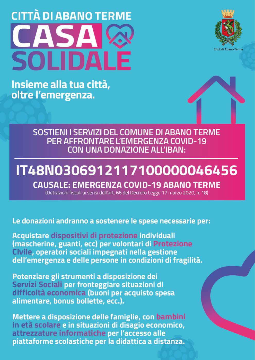 Casa Solidale, conto dedicato per donazioni