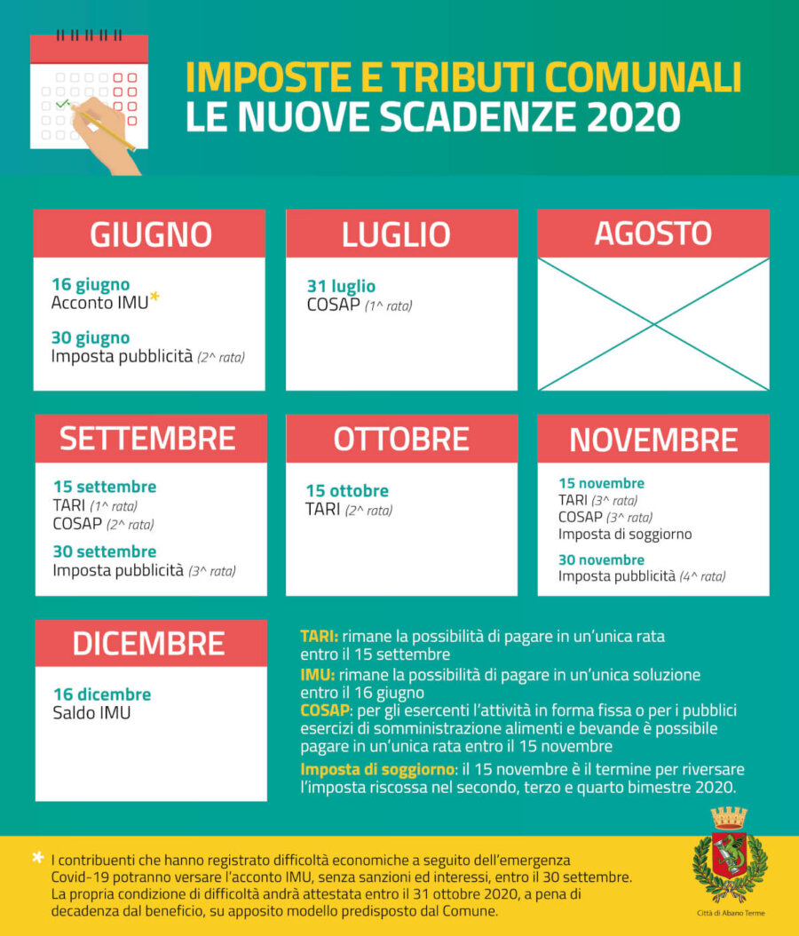 Nuovo calendario scadenze fiscali